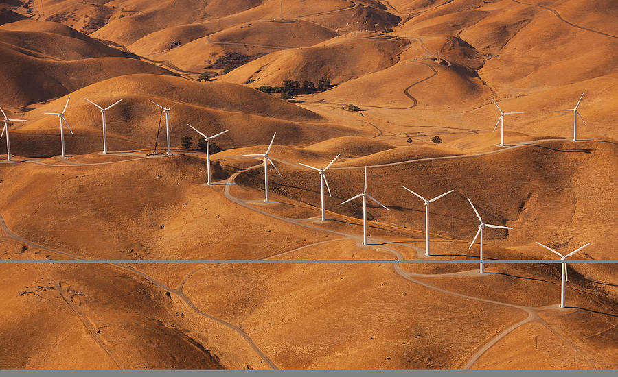 Wind Generators In The Landscape Of The Photograph by Mint Images - Art Wolfe