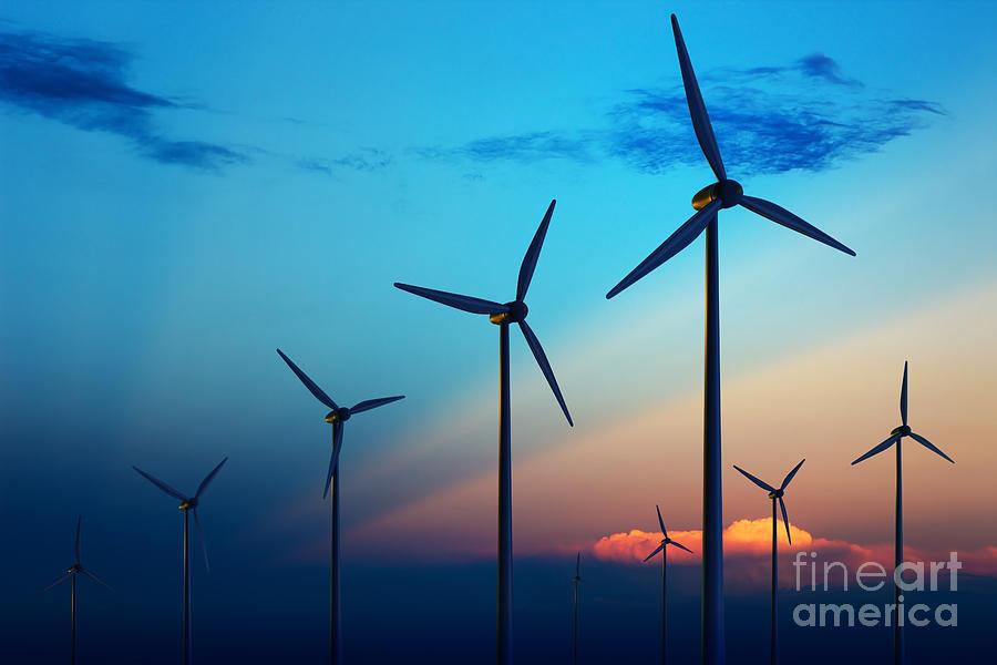 Blades Photograph - Wind Turbine Farm With Rays Of Light by Johan Swanepoel