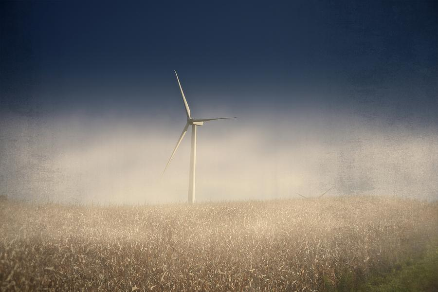 Wind Turbine in Fog by Guy Whiteley