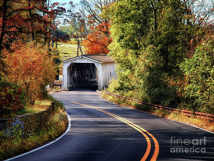 Winding Autumn Road to Green Sergeant's Covered Bridge by Mark Miller