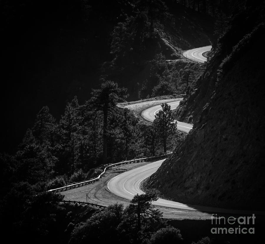 Curves Photograph - Winding Mountain Road In Black And White by Bryce Eilenberg