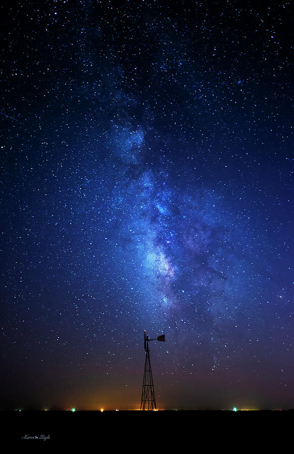 Windmill and Milky Way by Karen Slagle