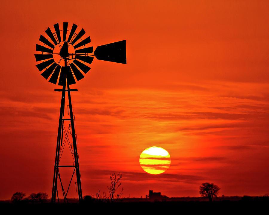 Windmill At Sunset No3-1 Photograph