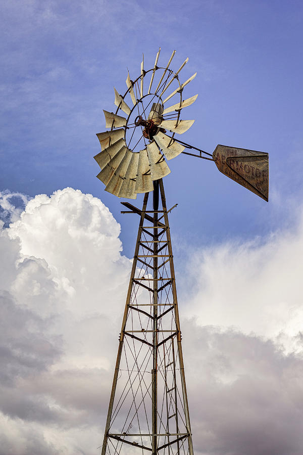 Blue Photograph - Windmill Before The Storm by Randy Bayne