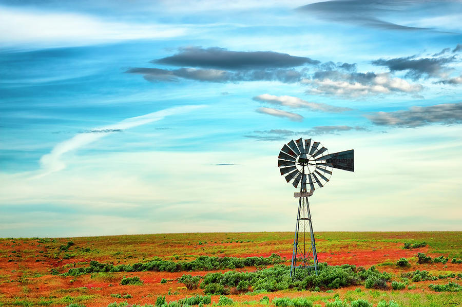 Windmill On High Desert by Dee Browning