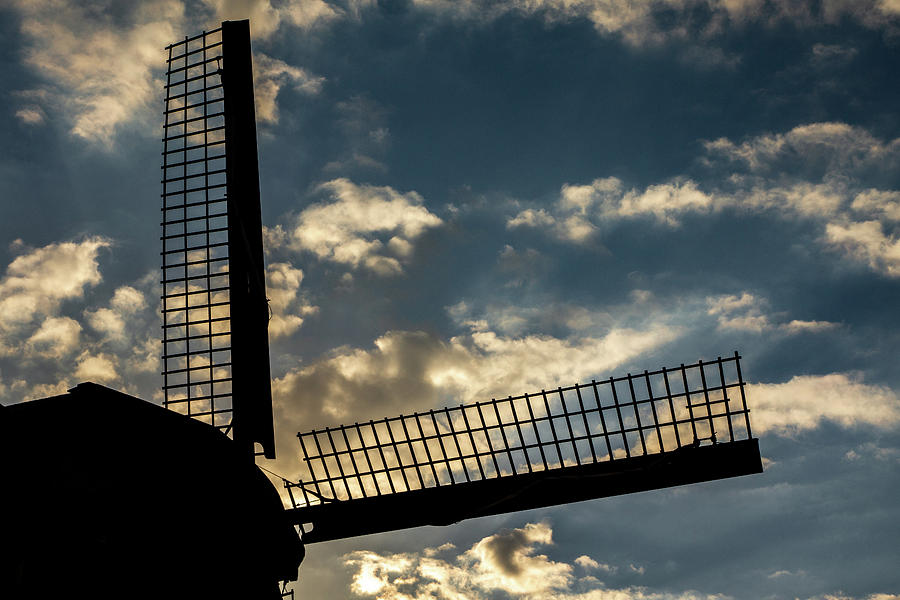Holland Photograph - Windmill Silhouette by Framing Places