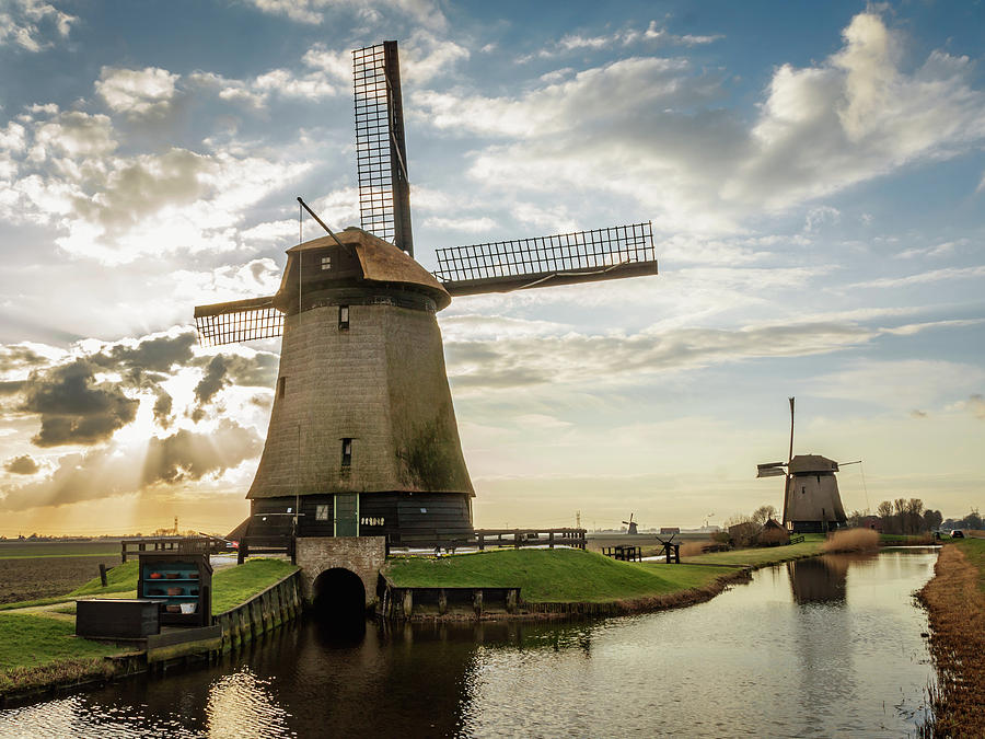 Holland Photograph - Windmill Sunset Panorama by Framing Places