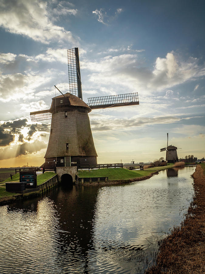 Holland Photograph - Windmill Sunset Portrait by Framing Places