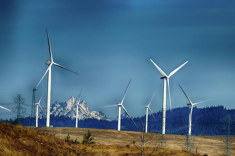 Windmills and power lines  with Mt Stuart  by Steve Estvanik