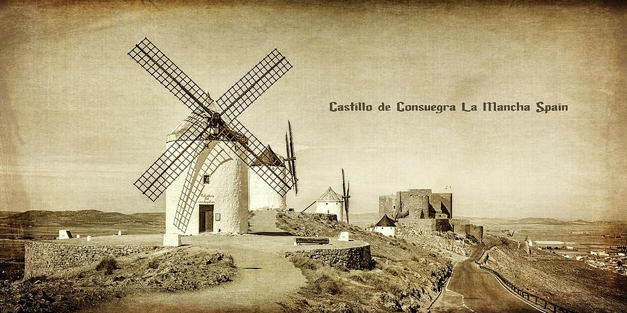 Windmills at Castillo de Consuegra La Mancha Spain_Monotone_GRK2269_020620194001 by Greg Kluempers