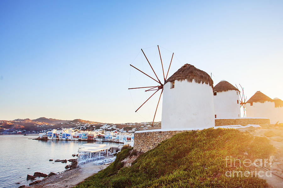 Sunrise Photograph - Windmills Of Mykonos, Famous Landmark by Justin Black
