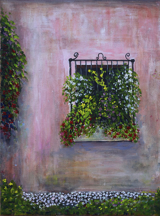 Flowers Painting - Window Box and Old Stucco by Alexis Baranek