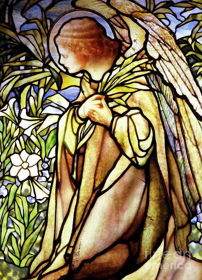 Religious Glass Art - Window Depicting A Kneeling Angel by American School