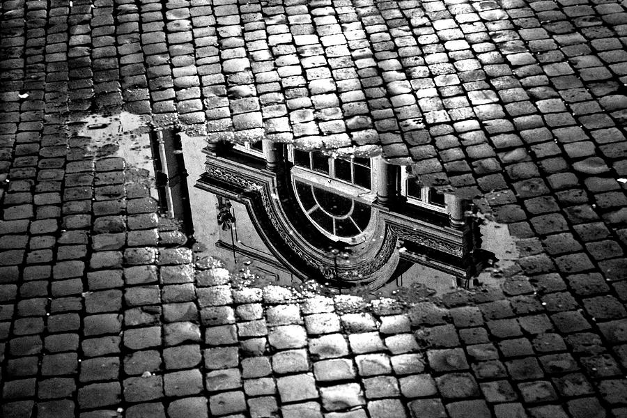 Window Reflection In A Puddle Photograph by Enzo D.