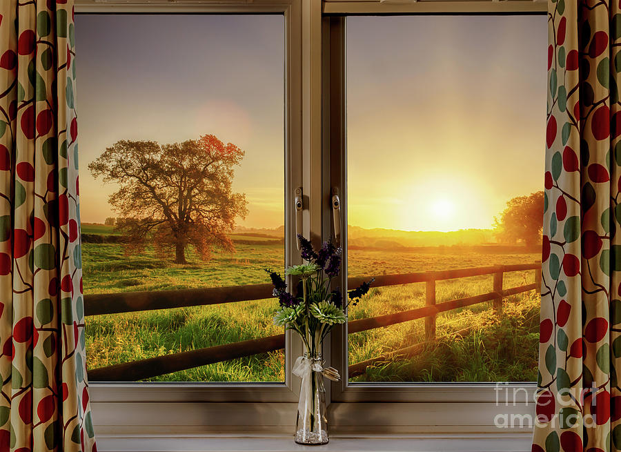 Window with stunning rural sunset view by Simon Bratt Photography LRPS