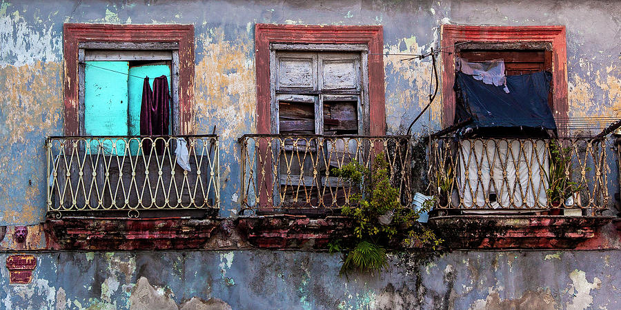 Windows and Ruins at Calle Bernaza Havana Cuba by Charles Harden