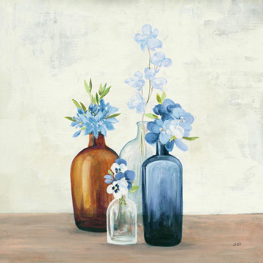 Blue Painting - Windowsill Garden II Blue by Julia Purinton