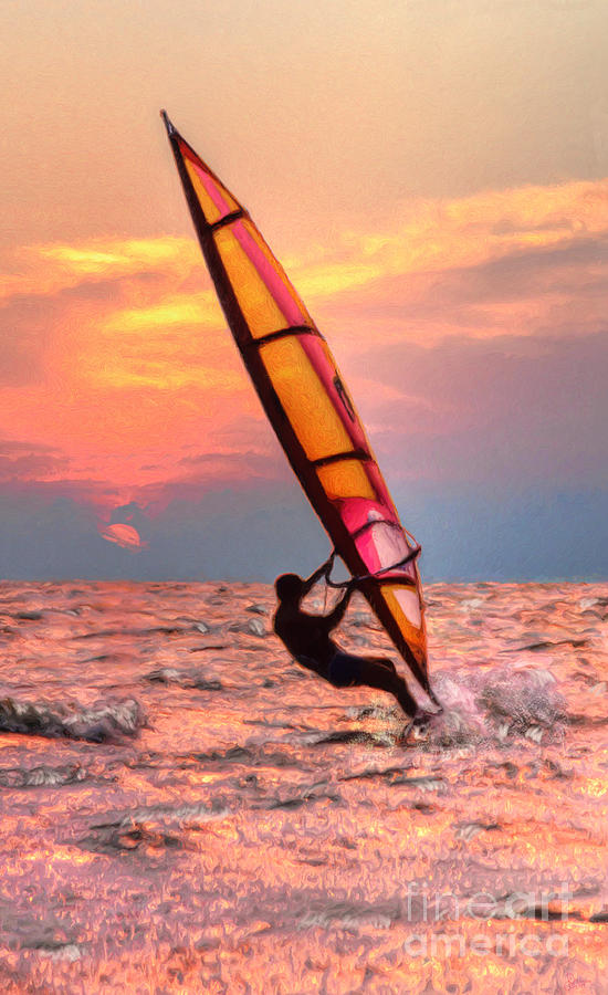 Windsurfing At Sunrise by Jeff Breiman