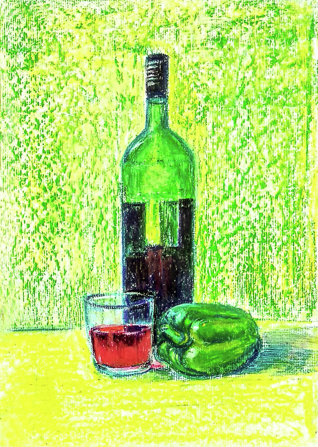 Wine and Capsicum by Asha Sudhaker Shenoy