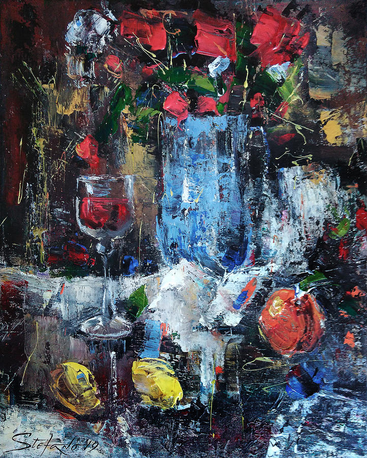 Still Life Painting - Wine and Fruits by Stefano Popovski