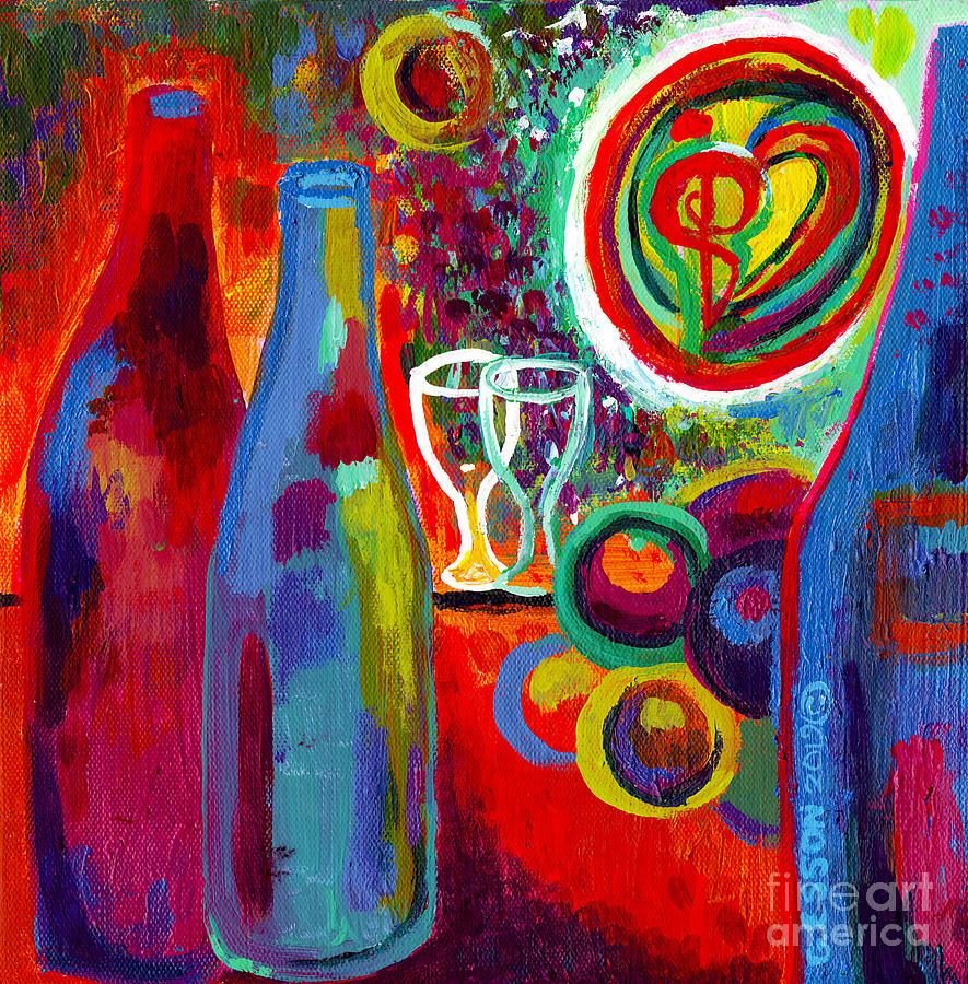Wine Art In Red Orange by Genevieve Esson