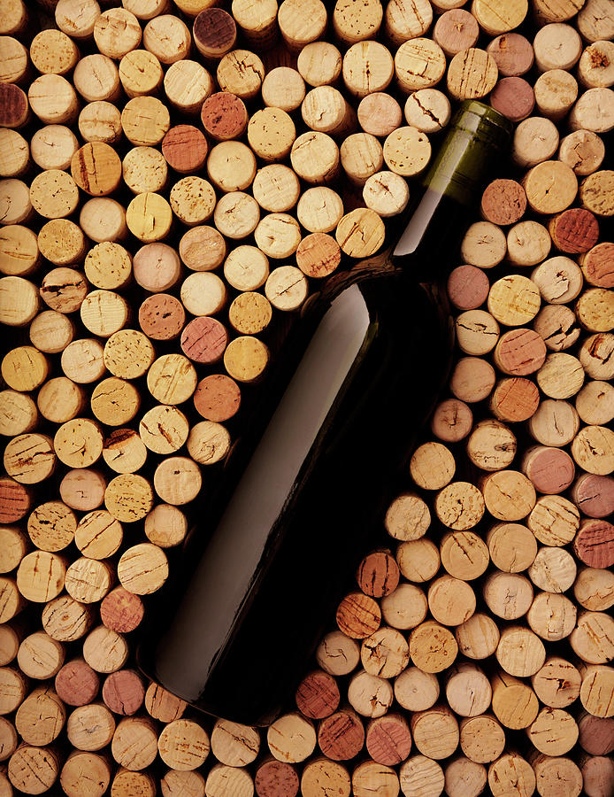 Wine Bottle And Corks Photograph by Wragg