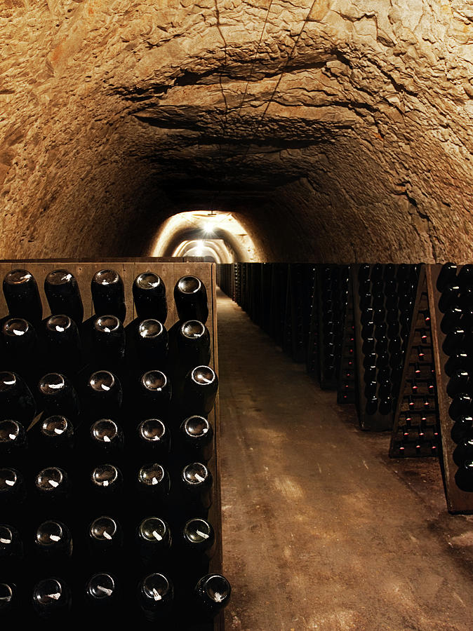 Wine Bottles In A Cellar Photograph by Sensorspot