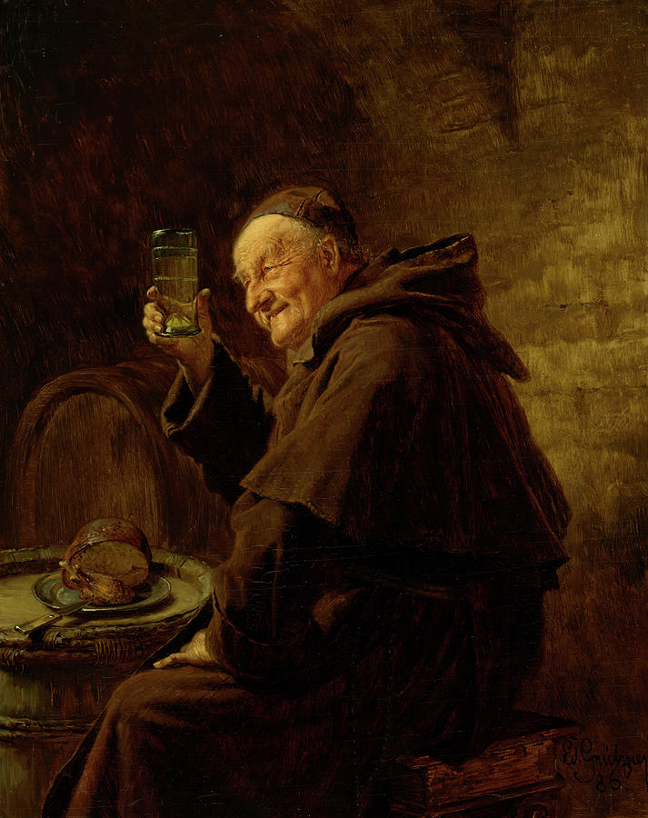 Grutzner Painting - Wine Testing, 1886 by Eduard Grutzner