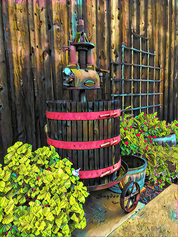 Winery Wine Press Antique by Barbara Snyder