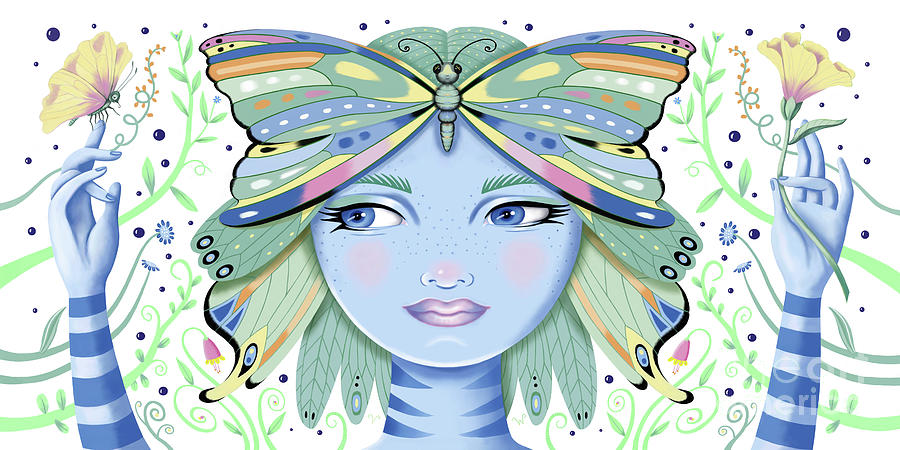Insect Girl, Winga - White by Valerie White