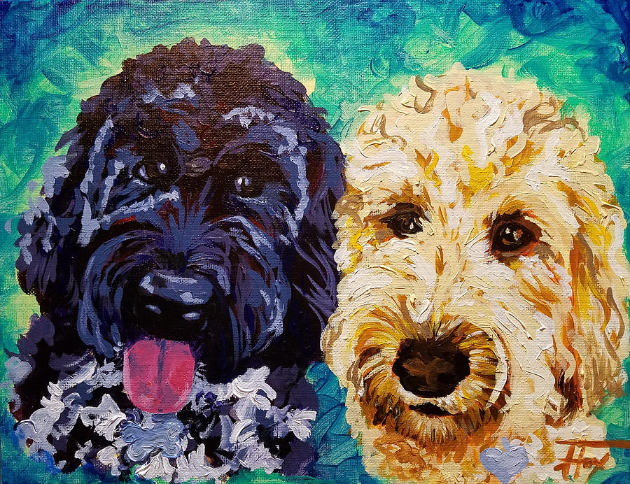 Dogs Painting - Winston and Ruby by Allison Fox