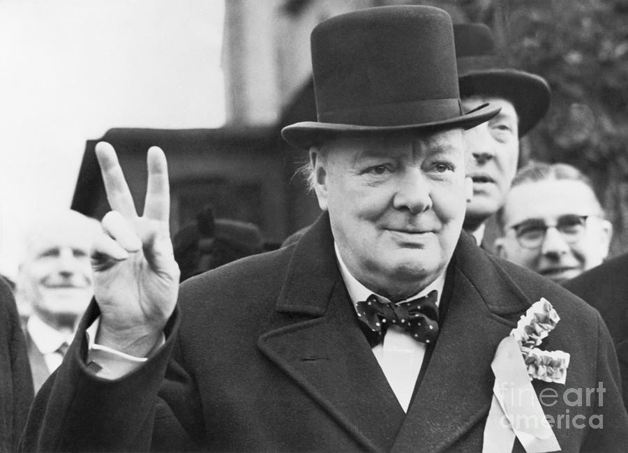 Winston Churchill Gives Victory Sign Photograph by Bettmann