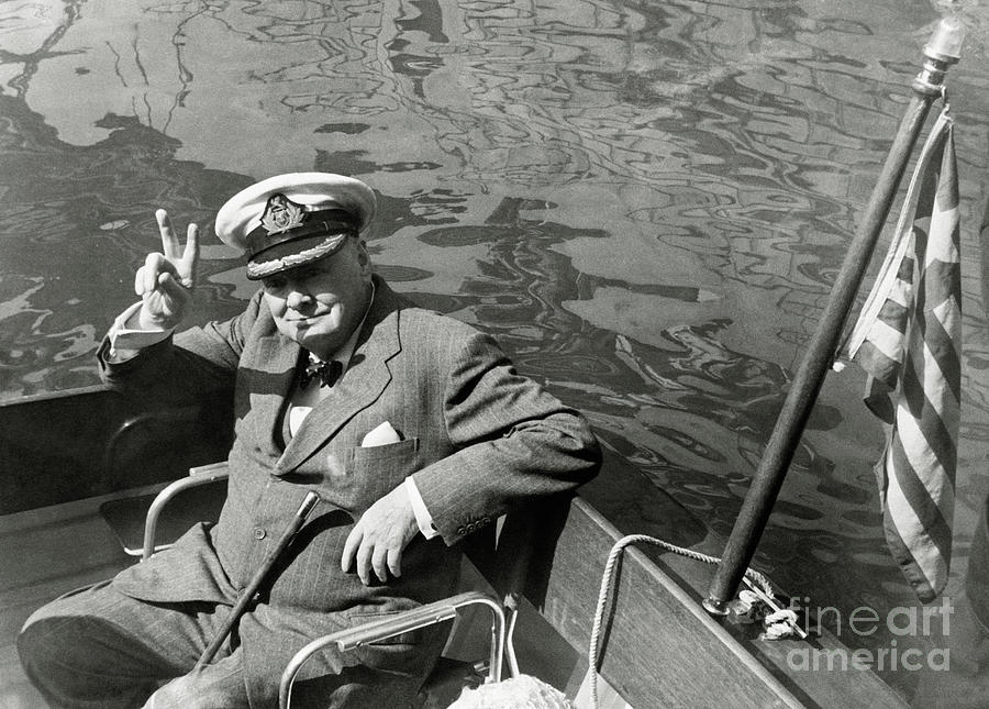 Winston Churchill In A Boat Giving Photograph by Bettmann