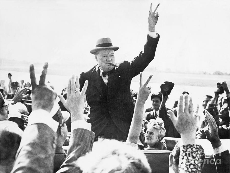 Winston Churchill Making Victory Sign Photograph by Bettmann