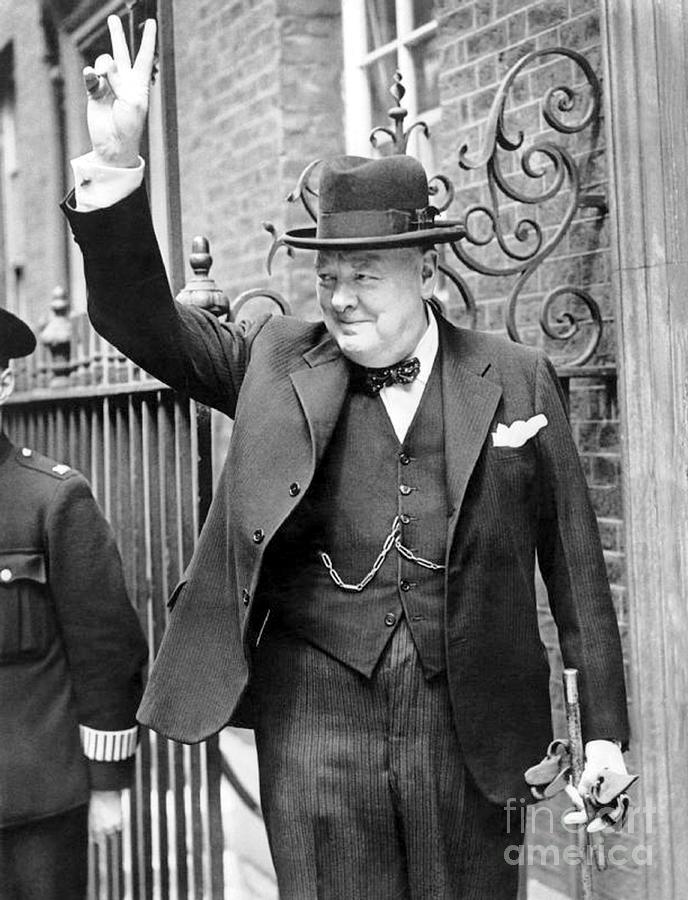 Churchill Photograph - Winston Churchill showing the v sign by English School