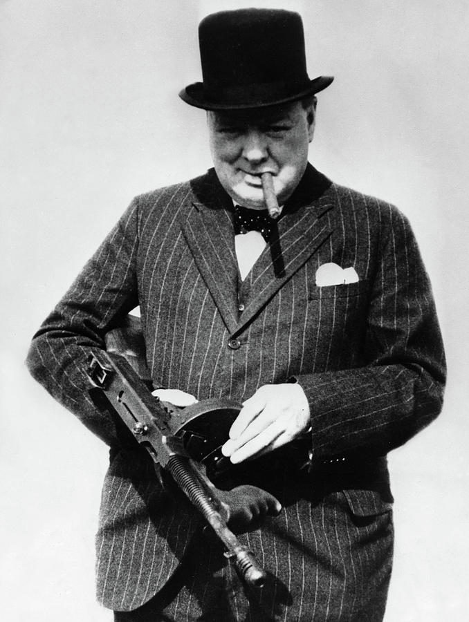 Winston Churchill Painting - Winston Churchill With Tommy Gun by English School