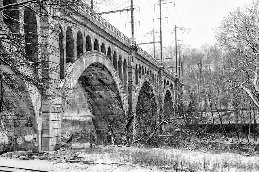 Winter Photograph - Winter At The Manayunk Bridge In Black And White by Bill Cannon
