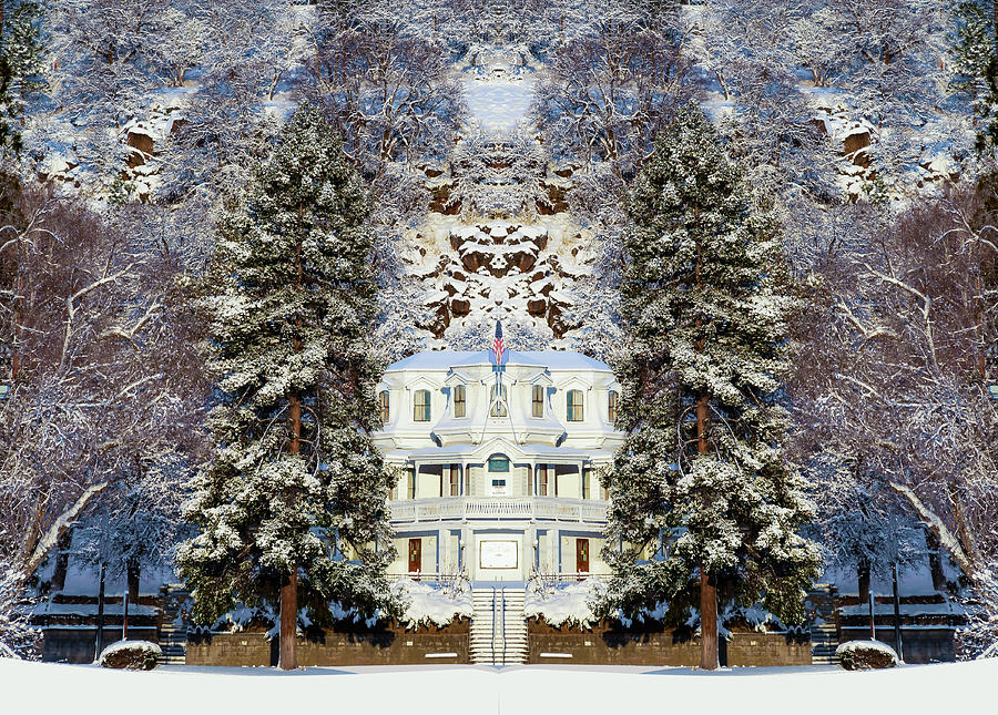Susanville Digital Art - Winter At The Susanville Elks Lodge by The Couso Collection