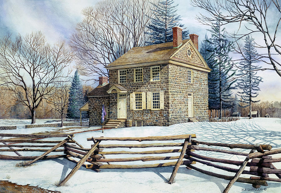 Watercolor Painting - Winter At Valley Forge by Nicholas Santoleri
