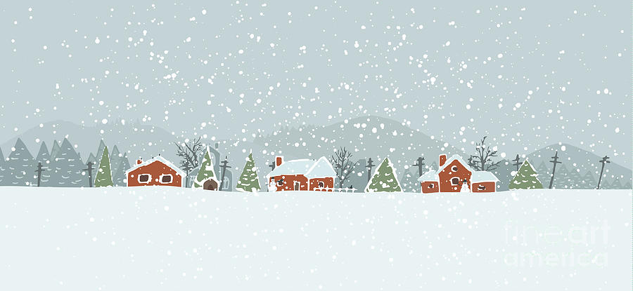 Small Digital Art - Winter Background With A Peaceful by Artem Musaev