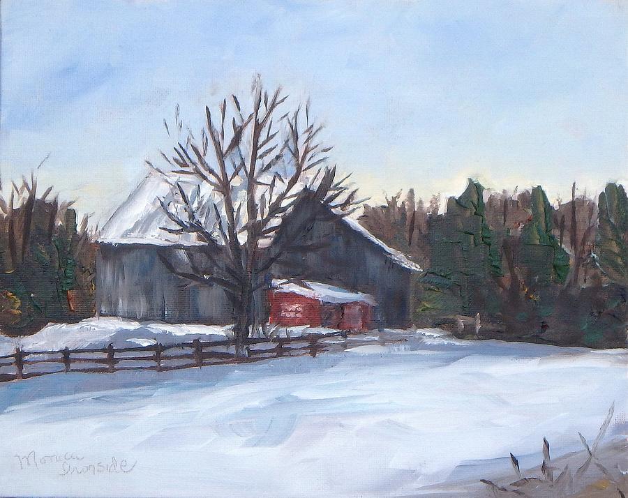 Original Painting - Winter Barn by Monica Ironside