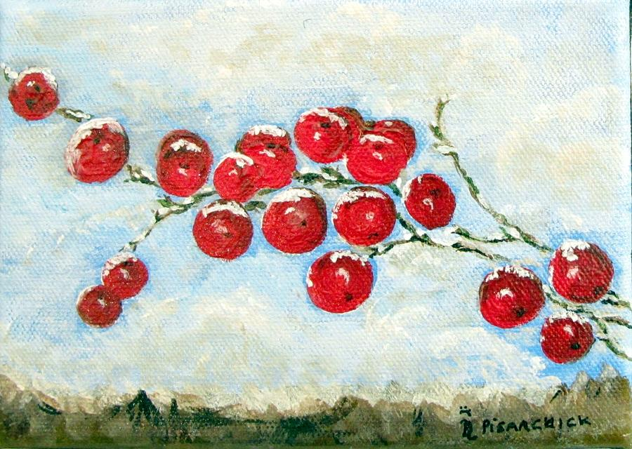 Winter Painting - Winter Berries by Rosita Pisarchick