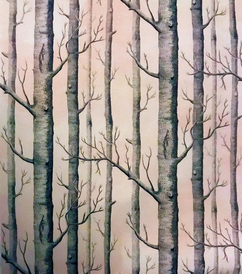Winter Birch Trees Painted by Sandi OReilly