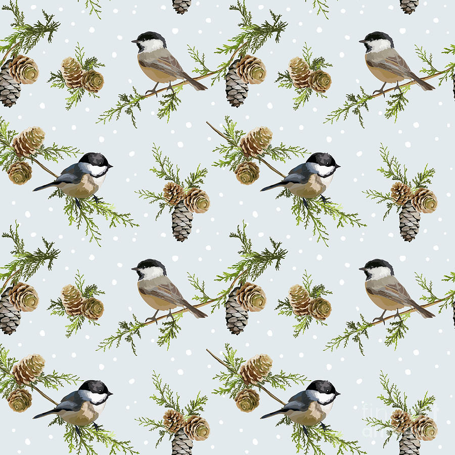 Pine Digital Art - Winter Birds Retro Background - by Woodhouse