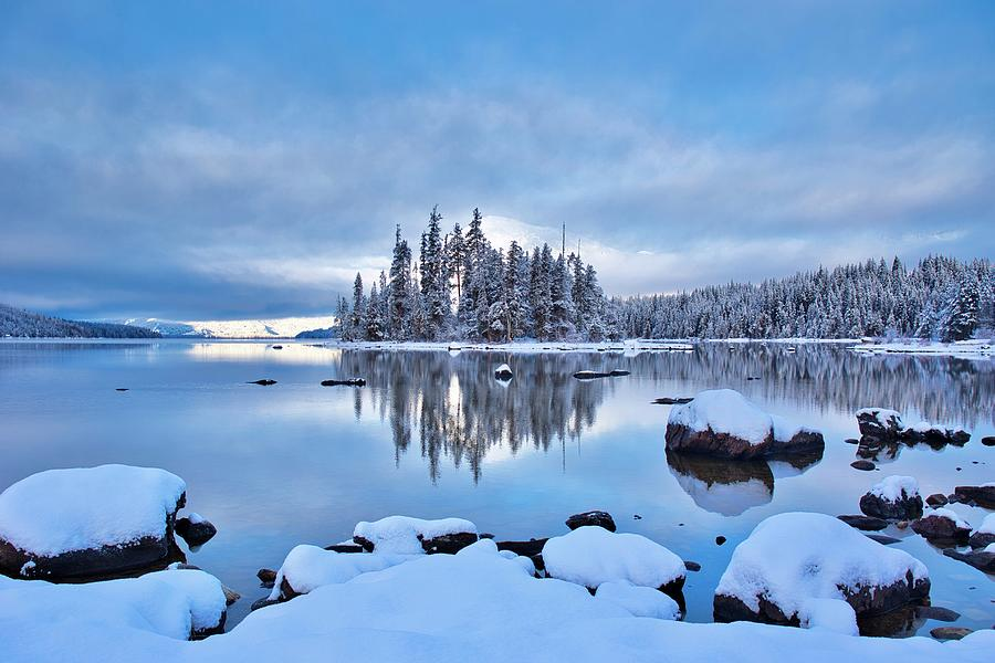 Winter Photograph - Winter blues on the lake by Lynn Hopwood