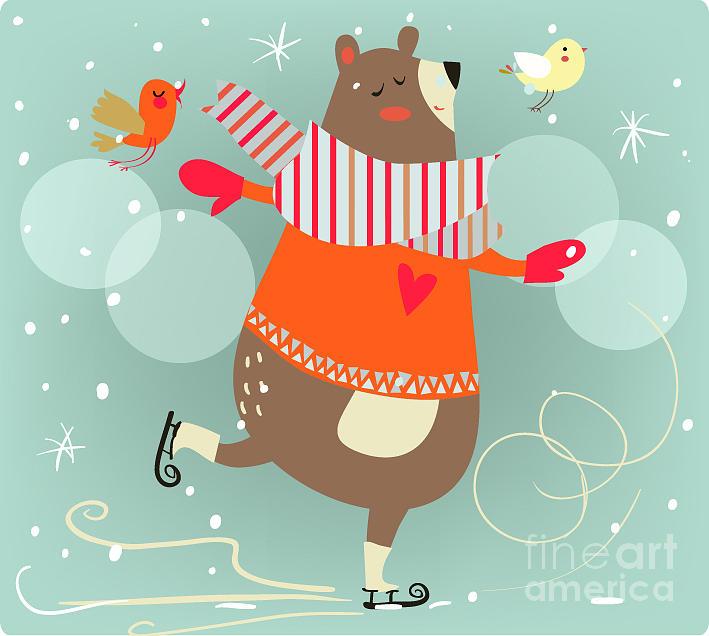 Birthday Digital Art - Winter Cartoon Bear by Elena Barenbaum