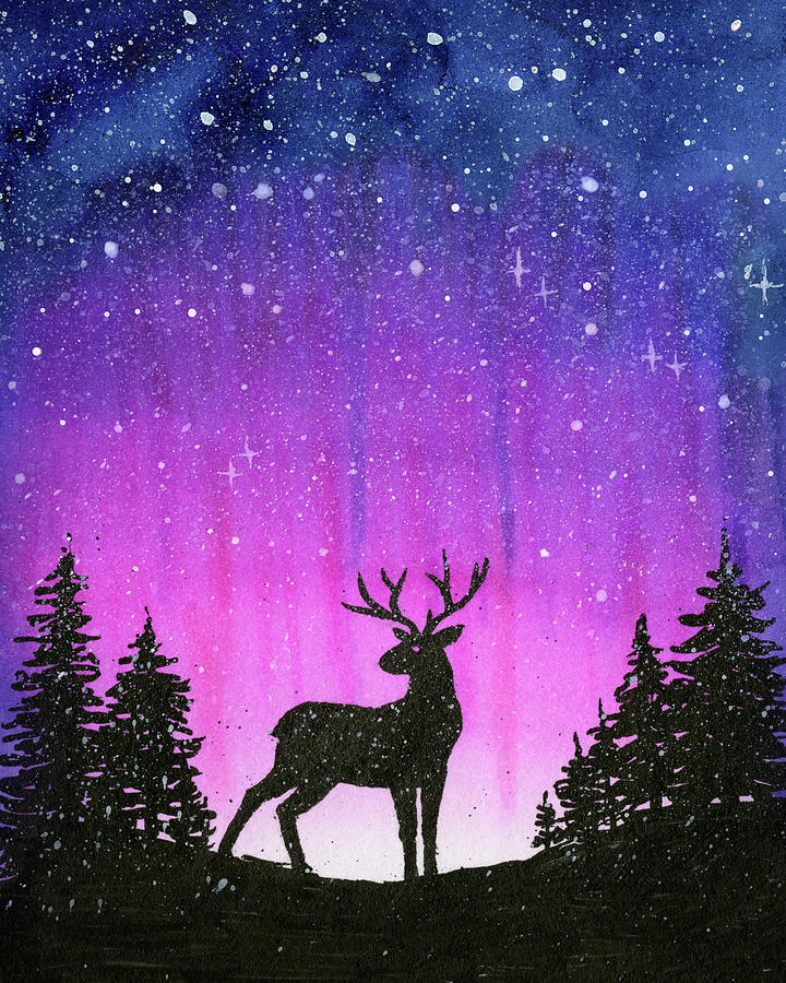 Watercolor Painting - Winter Forest Galaxy Reindeer by Olga Shvartsur