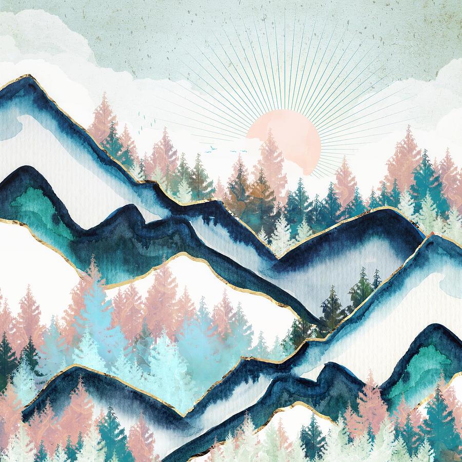Digital Digital Art - Winter Forest by Spacefrog Designs