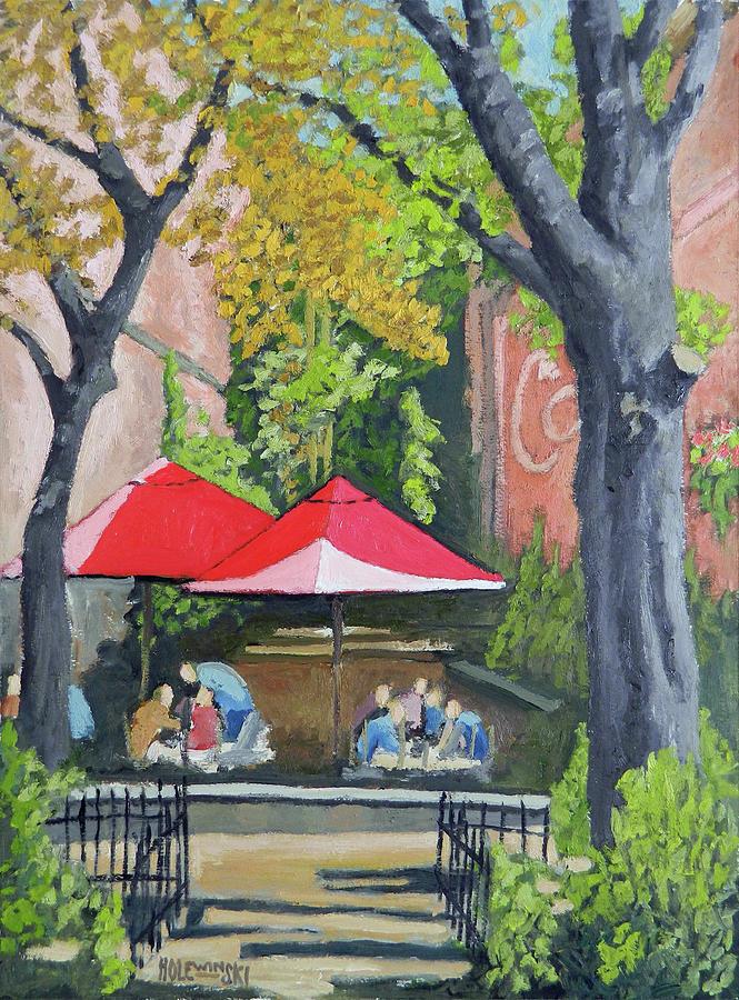 Winter Garden Painting - Winter Garden Cafe by Robert Holewinski