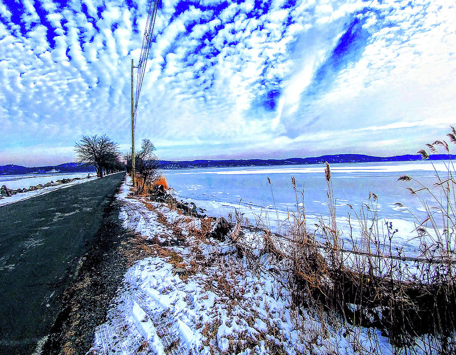 Winter Hudson River Causeway by Roger Bester